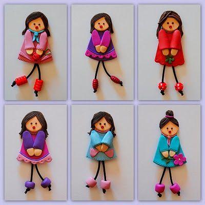 Broches de muñecas fieltro y goma Eva