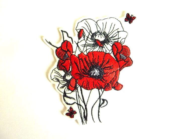 Poppies badge patch embroidered patch by Alliane on Etsy https://www.etsy.com/listing/544393215/poppies-badge-patch-embroidered-patch