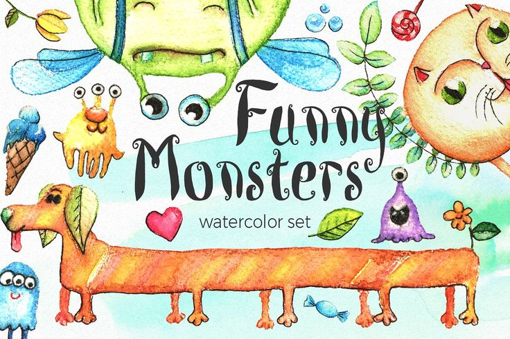 Watercolor Funny Monsters by Anna on @creativemarket