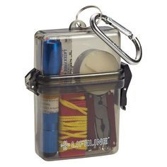 Our Weatherproof Survival Kit is an all-in-one kit for surviving in the wild! Campers, hikers and bikers can keep necessities close at hand in one compact, waterproof case. Each kit includes one flashlight, AAA battery, multifunction tool, candle, box of waterproof matches, emergency whistle and five bandages.