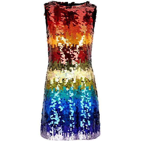 Alice + Olivia Malin Sequinned Mini Dress - Size 8 ($965) ❤ liked on Polyvore featuring dresses, multi-color dress, nylon dress, multi coloured dress, multi coloured sequin dress and short sequin cocktail dresses