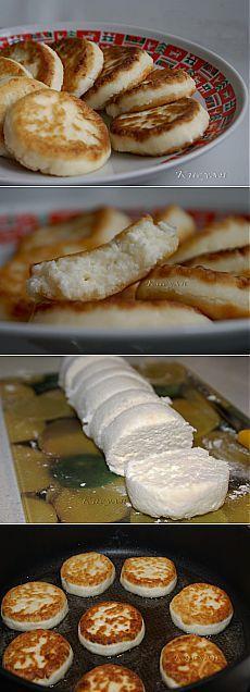 Сырники нежнейшие и пышные (без яиц).  Ингредиенты:    творог до 17 % жирности ( две пачки по 180 г)  соль щепоточка  сахар 1-2 ч. л.  мука 1 ст. л.  мука для обваливания    растительное масло для жарки.  Приготовление: в творог добавить щепотку соли, сахар (много класть не стоит, иначе сырники от сиропа раскиснут, потребуют больше муки, в результате, будут жесткими и невкусными и подгорят) и 1 ст. л.муки. Хорошенько размешать. Я пользовалась толкушкой с дырочками. Творог не должен...