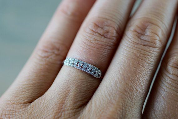18k Rose Gold Diamond Vintage Classic Pave and Single Prong