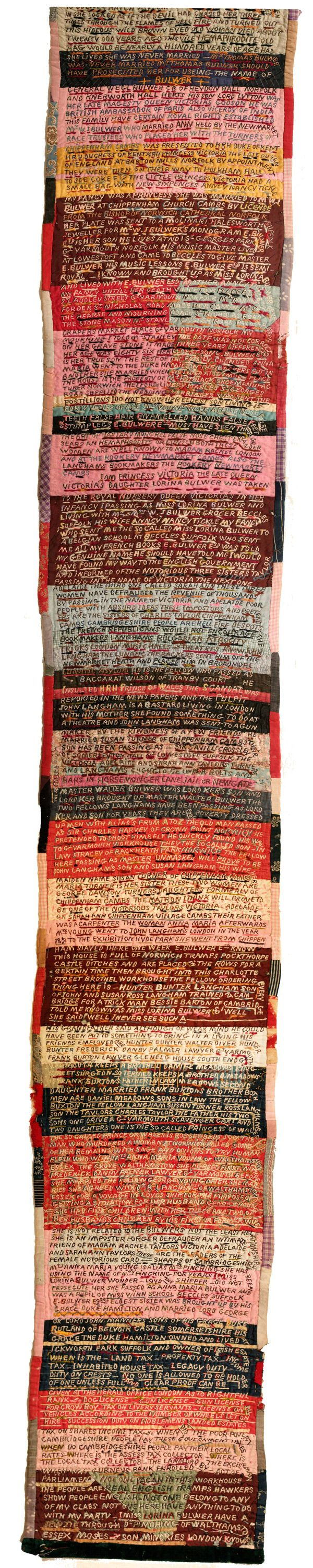 Lorina Bulwer's amazing embroidered 'Letters from the Workhouse'