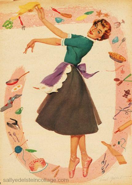 (I always twirl around on pointe when doing housework. Vintage Illustration,1950s Housewife.)