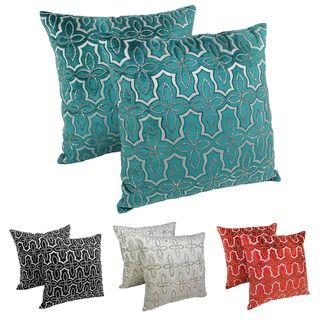Sofa Sleeper Blazing Needles Moroccan Patterned Beaded Velvet Throw Pillows Set of