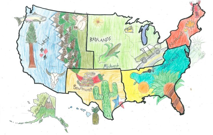 TOUCH this image: US Regions Thinglink by Lauren - love the hand-drawn maps and student-created videos