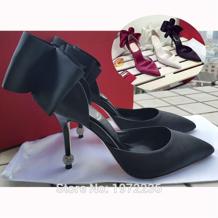 Real Photo 2016 New sapatos de grife de luxo mulheres cetim sapatos de casamento Bowtie salto alto 10 CM dedo apontado bombas mulher sandália alishoppbrasil