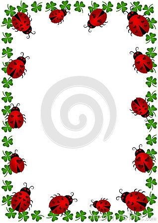 (C) Celia Ascenso - Frame border with ladybugs and clovers. Vector or png available.
