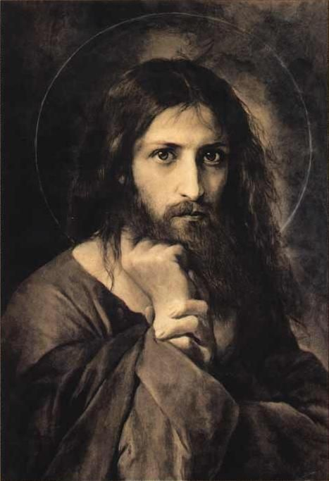 "Pinner says ""Jesus Christ by El Greco"" but I don't believe that this is his style. It's much less impressionistic than his other work. After a lot of googling, I've found no concrete source that says Greco actually painted it. However, I can't seem to find who it is really by. Anyone know? ~ARB"