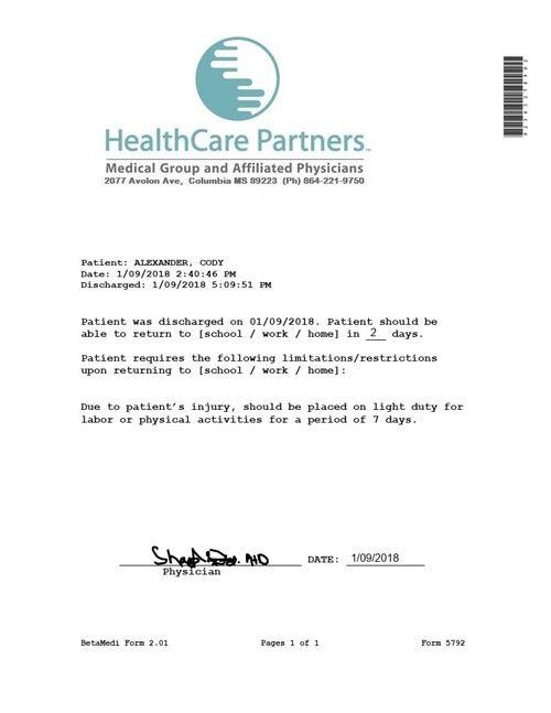 emergency doctors note