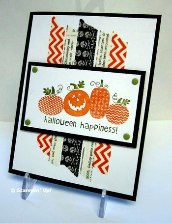 I love this card, very happy (which I know Halloween cards aren't supposed to be, but...:) Can't wait for my shipment this week to get this stamp and play!! Halloween Swap cards from Flowerbug's Inkspot