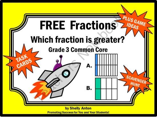 FREE Comparing Fractions Math Common Core Task Cards from Promoting Success on TeachersNotebook.com - (9 pages) - FREE Comparing Fractions: You will receive 6 fraction task cards focusing on the Common Core skill of comparing fractions. These cards have a fun spaceship and alien theme. Find the alien on each card. You will also receive a fractions student response fo