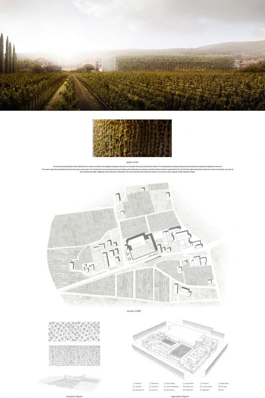 Three winners and a host of Honorable Mentions have been announced in the Wine Culture Centre Competition. The contest challenged young architects to transform the old Cantina Valpolicella Negrar winery in Verona, Italy into a contemporary space for all aspects of wine culture. Overall the competition received 421 submissions from around the world.