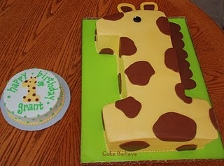 Giraffe Cake - Find more 1st Birthday Party Ideas at http://www.birthdayinabox.com/party-ideas/guides.asp?bgs=2