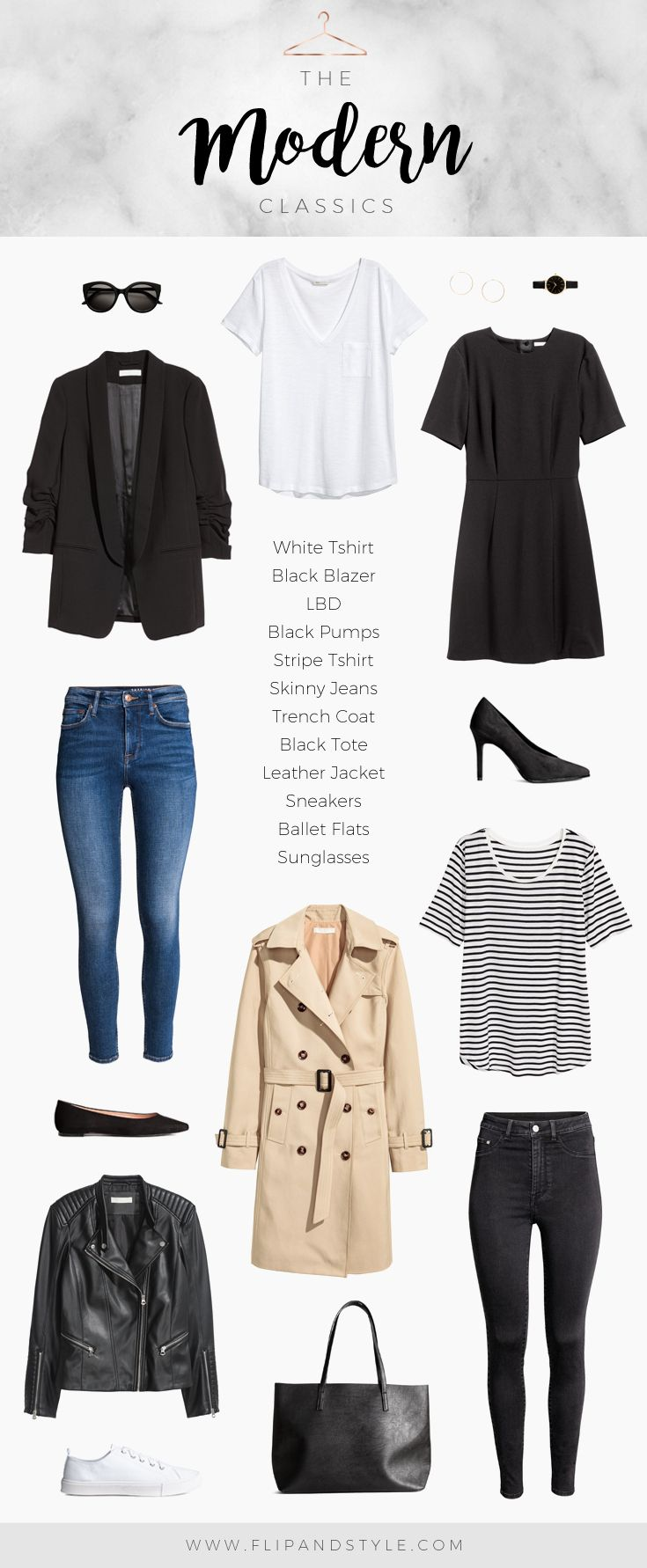 Modern classics for a capsule wardrobe | Style essentials & minimalist outfits, all pieces from H&M | Created by Vanessa at www.flipandstyle.com