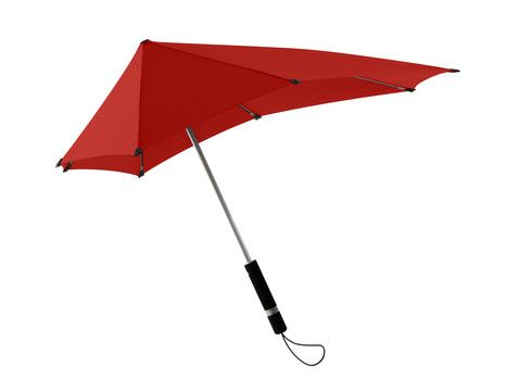 The Dutch senz° umbrella was designed in Delft and endures winds from 80k (compact) to 100k (standard size). This, I want to try.