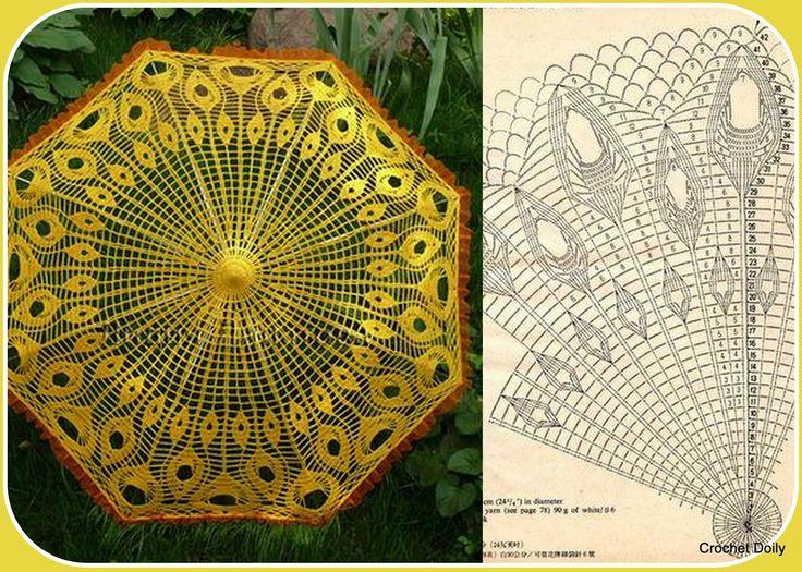 """ kvačkarije"": Umbrella- Piume di pavone gialle"