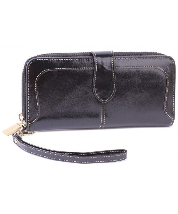new concept a0520 bb0d8 Women's Leather Wallet Wristlet organizer iphone Clutch Zip Purse ...