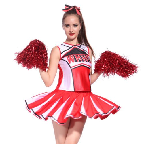 Ladies glee #cheerleader #school girl #fancy dress uniform costume w/ pom poms, View more on the LINK: http://www.zeppy.io/product/gb/2/311687530258/