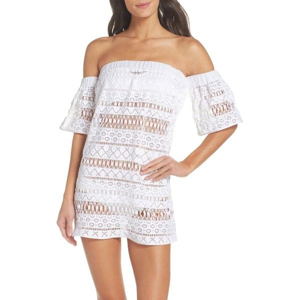Women's Milly Crochet Cover-Up Dress ($225) ❤ liked on Polyvore featuring swimwear, cover-ups, white, sheer beach cover up, sheer swimsuit cover ups, swim cover up, crochet beach cover up and swimsuit cover ups