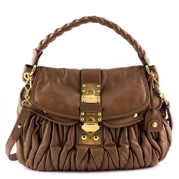 Miu Miu Tan Nappa Lux Coffer Bag With Images Bags Miu Miu Handbags Miu Miu