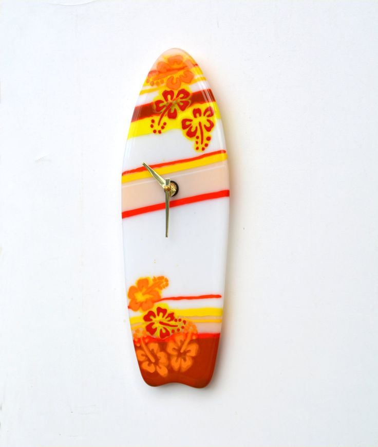 Wall clock, fused glass, wave, surfboard, hibiscus, red, yellow, orange, brown by caroline4art on Etsy