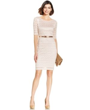 Connected Petite Belted Metallic Chevron-Lace Sheath - Pink 10P