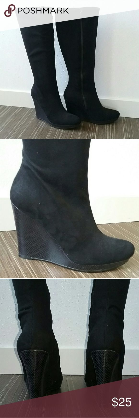 Knee High Wedge Boots Black knee high boots with wegde heel. Only worn twice. Heel measures 4.5 inches. Impo Shoes Heeled Boots