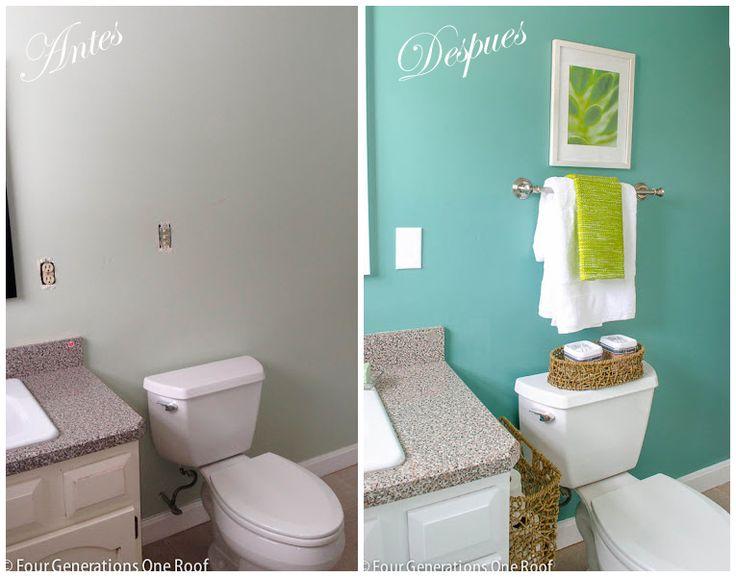 es increíble como un poco de pintura para pared y para el mobiliario y un cambio en la cortina de ducha, añadir textiles y un par de accesorios hacen que sea otro baño,