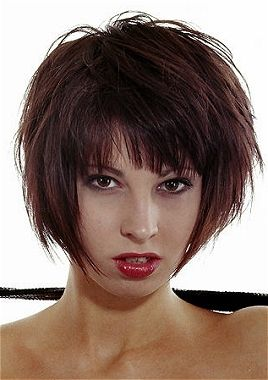A medium brown straight long thick choppy bob Shortfringe