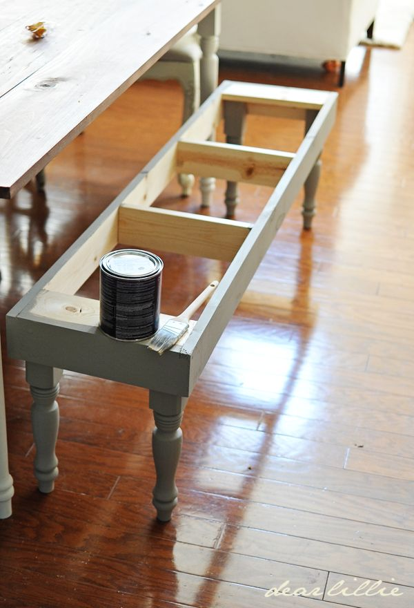 "Dining Room Bench Tutorial. Thinking of doing this, but adding some drawers (or making the ""seat"" into a lid) for extra storage *and* seating. V useful."