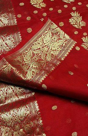 Red Handloom Chanderi Katan Silk Saree 11