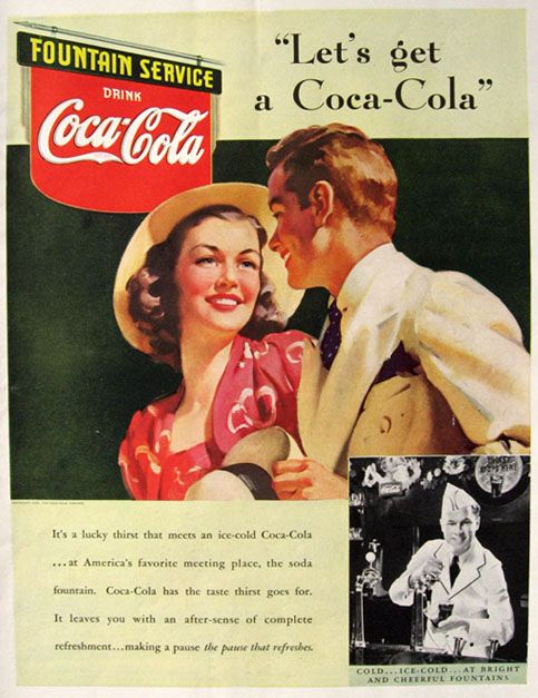 1939 Coke Coca Cola Ad ~ Fountain Service