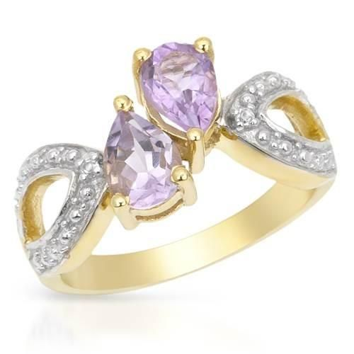 Ring With Amethysts And Topazes - Size 7 Wonderful ring with amethysts and topazes well made in 14K gold plated silver. Total item weight 4.4g. Gemstone info: 2 amethysts, 1.28ctw., with pear shape and purple color, 2 topazes, 0.02ctw., with pear shape and white color.
