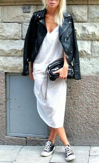 white cotton dress + leather jacket + converse #style