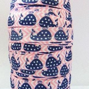 """Whale FOE 5/8"""" -Fold Over Elastic 5/8 inch by the yard...Print FOE, Headbands, Hair Ties and More!"""