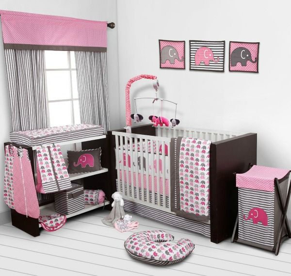 Pink And Gray Elephant Baby Bedding