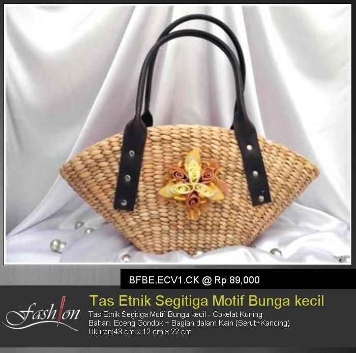 Triangle Ethnic Bag With Little Flower Theme - Brown Yellow