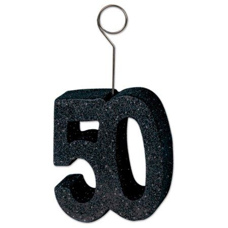 """Pack of 6 Black Glittered """"50"""" Photo and Balloon Holder Decorations 6 oz"""