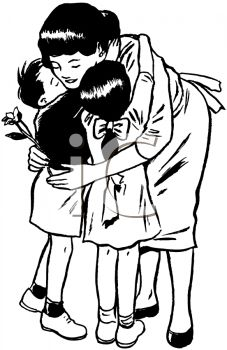 Hug Your Children Tight God Bless Those In Ct Black And White Cartoon Mom Art Mother Clipart