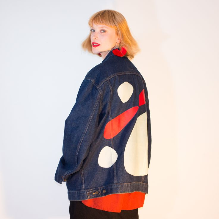 CALDER PRINT ON VINTAGE LEVI'S DENIM JACKET - MILLIE AND LOU TAKES VINTAGE GARMENTS AND TEXTILES AND REWORKS THEM INTO ONE OF A KIND PIECES.
