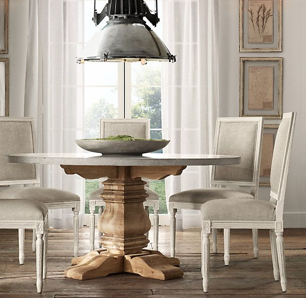 Delightful Salvaged Wood U0026 Weathered Concrete Trestle Round Dining Table From Restoration  Hardware