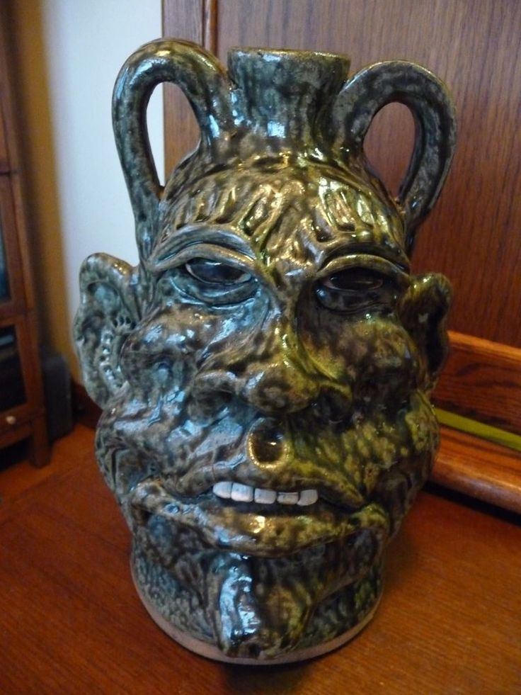 Incredible Cleater Meaders Jr Whie County, GA Folk Art Pottery Monster Face Jug