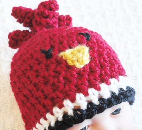 Baby Cardinal Beanie Hand-crocheted Arizona Cardinals Inspired  Hat By Distinctly Daisy