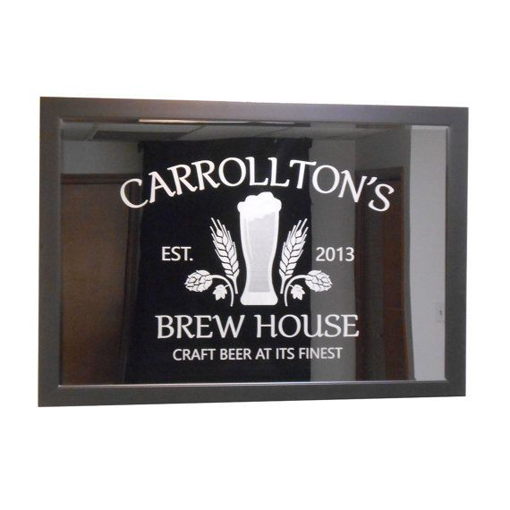 "24"" x 36"" custom bar mirror.  Can also customize logo.  Great idea for TV cover!"