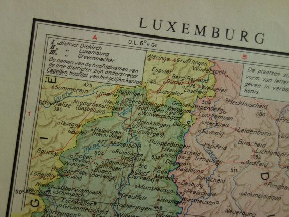 LUXEMBOURG old map of Luxembourg  original 1950 by VintageOldMaps