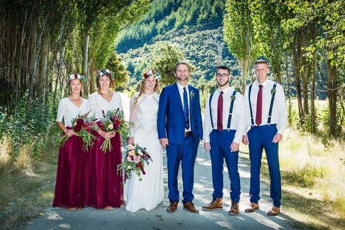 flower crowns in wine and blue http://www.wanakaweddingflowers.co.nz  Pic: fluidphoto