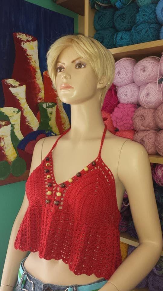 Crochet blusa de verano roja -  con Ruby Stedman