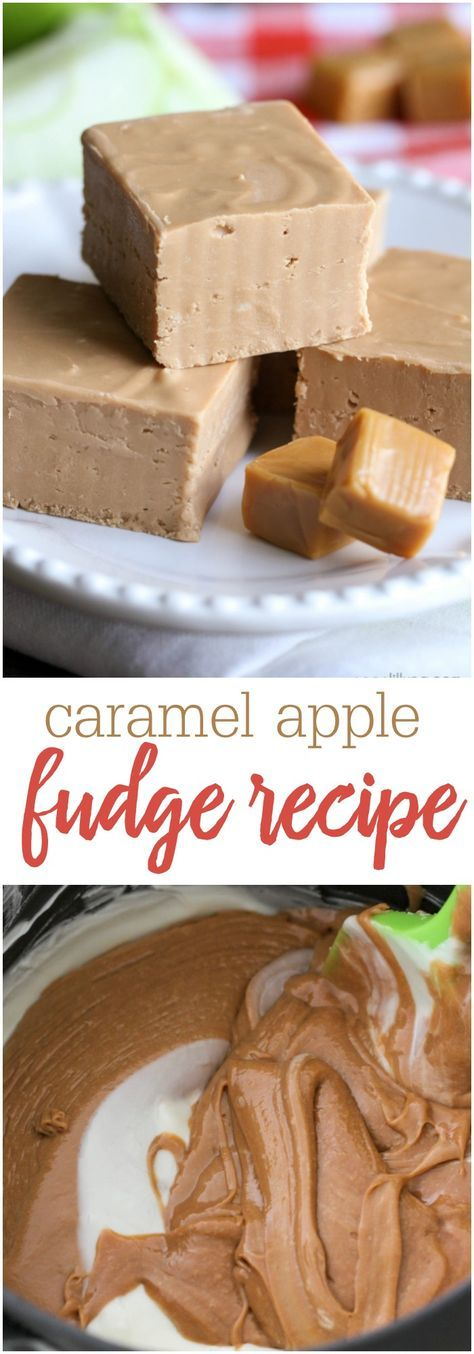2-Ingredient Caramel Apple Fudge - so good and so easy to make!! Get the recipe on { lilluna.com } All you need is some caramel apple frosting and white chocolate chips!!